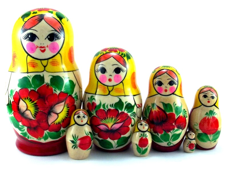 Nesting Dolls 7 pcs Russian matryoshka. Authentic Babushka image 0