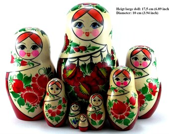 Nesting dolls 8 pcs Russian matryoshka babushka. Stacking stackable wooden toy for kids made in Russia. Christmas birthday gift for daughter