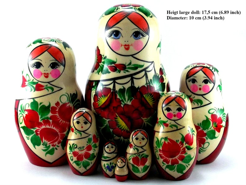 Nesting dolls 8 pcs Russian matryoshka babushka. Stacking image 0