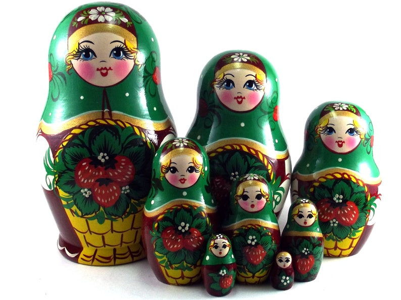 Nesting Dolls Russian Matryoshka babushka. Stacking wooden toy image 0