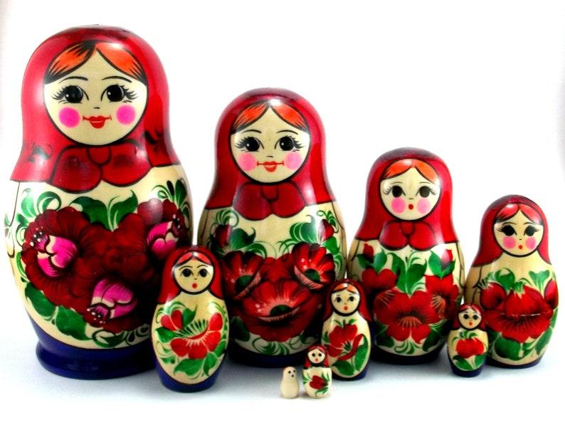 Russian dolls 9 pcs Matryoshka Babushka. Nesting stacking image 1
