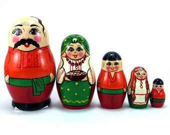 Nesting Dolls 5 pcs Russian Matryoshka Babushka Ukraine Man. Stacking Wooden toy for kids. Christmas or birthday gift for granddaughter her