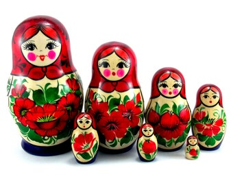 Nesting Dolls Russian Matryoshka Babushka 7 pcs. Traditional Stacking wooden toy made in Russia. Christmas Birthday gift for granddaughter