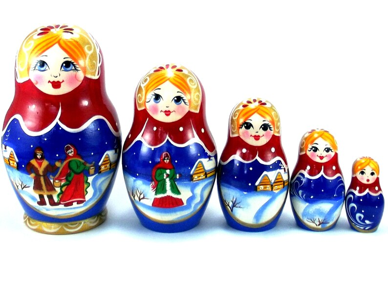 Christmas Nesting Dolls 5 pcs Russian matryoshka babushka. image 0