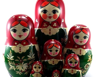 Nesting Dolls for kids Russian matryoshka babushka. Stacking wooden toy made in Russia. Christmas or Birthday gift for granddaughter 11 pcs