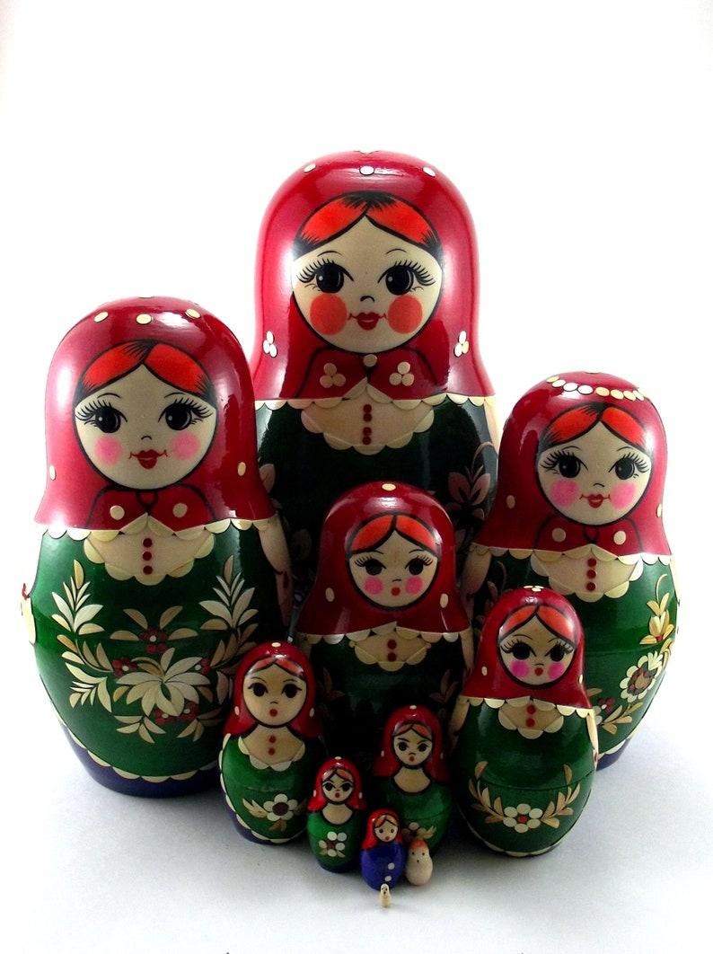 Nesting Dolls for kids Russian matryoshka babushka. Stacking image 0