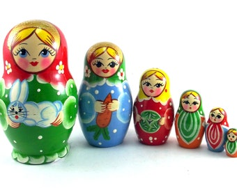 Animal Nesting Dolls for kids Russian Matryoshka Babushka 6 pcs. Stacking stackable wooden toy made in Russia. Christmas Birthday gift for