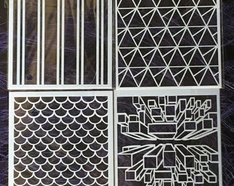Stencil, polymer clay, scrapbooking, pattern, stamping, painting, printing, diy stencil, crafting stencil, polymer clay stencil set 11