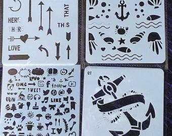 Stencil, polymer clay, scrapbooking, pattern, stamping, painting, printing, diy stencil, crafting stencil, polymer clay stencil set 03