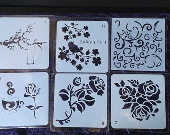 Stencil, polymer clay, scrapbooking, pattern, stamping, painting, printing, diy stencil, crafting stencil, polymer clay stencil set 04