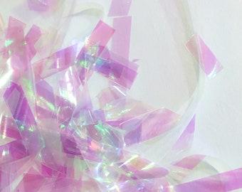 Iridescent White Mylar Flakes, LONG mylar dichroic, holographic, mylar, shimmering glitter, foil, angelina, holographic rainbow, resin, diy