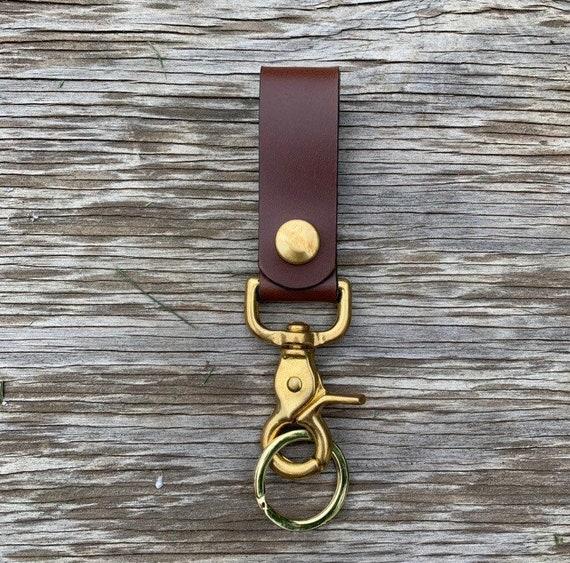 fob EDC carry. Colour Brown keyring Leather keychain belt loop Handmade