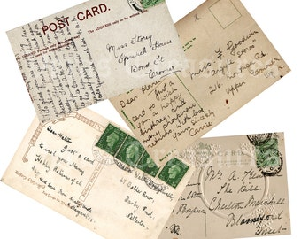 Written vintage style Postcards Digital Images for card making or Crafts