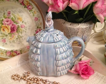 Vintage 1930s Sadler Ye Daintee Laydee teapot reg. No.824571 . Hand painted  Crinoline lady Teapot in pale blue. TP023.