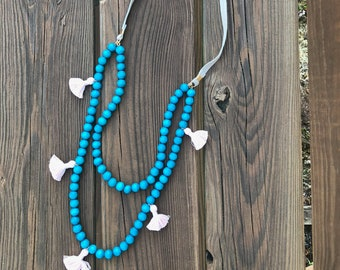 Turquoise Wood Bead Tassel Necklace