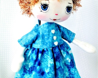 Outfit for doll. Handmade blue doll's dress, Doll clothes to fit 18 inch doll and my own dolls.