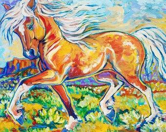 Wild horse palomino painting