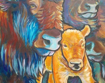 The New Kid buffalo bison calf original painting on canvas