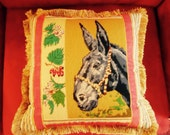 19 quot x 19 quot Vintage Mule Needlepoint Pillow Missouri State Flower and State Mascot, the Mule