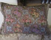 16 quot x 23 quot Antique Floral Needlepoint Pillow