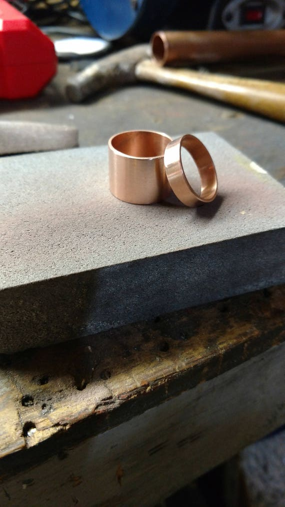 Copper Wedding Ring Set His And Hers Etsy