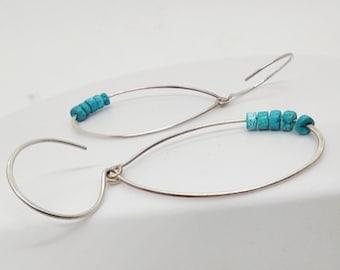 Turquoise Large Hoop Earrings, Women Sterling Silver Hoops, Earrings Gift Ideas