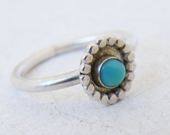 Cabochon Boho Turquoise Ring, December Birthstone Jewelry, Handmade Gipsy Turquoise Ring for Her, Women Jewelry Gifts