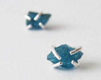 Raw Neon Blue Apatite Nuggets Earrings, Throat Chakra Stone, Women Gift Ideas, Mothers gift