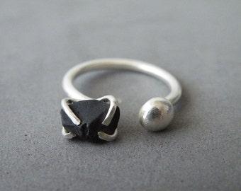 Dual Gemstone Ring Sterling Silver Raw Onyx Open Adjustable Boho Jewelry Black Stone By SteamyLab