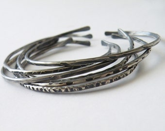 Open Bangles  Stacking Cuff Sterling Silver Hand Hammered Textured Silver Stacking Bangles by SteamyLab