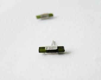 Green Tourmaline Stud Earrings October Birthstone Raw Tourmaline Sterling Silver Jewelry by SteamyLab