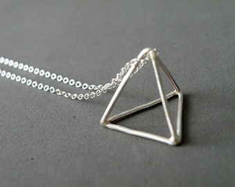 Pyramid Necklace Sterling Silver Triangle Pendant Necklace Long Geometric Necklace Minimalist Jewelry by SteamyLab