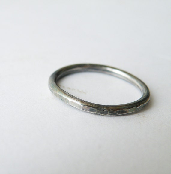 Oxidized Black Silver Band Ring Stacking Hammered Ring Etsy