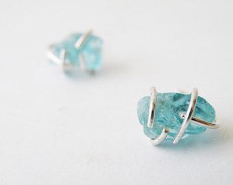 Rough Seas Blue Apatite Nuggets Earrings, Aqua Stone Stud Earrings for Her, Women Jewelry Ideas