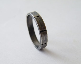 4 mm Man Ring Sterling Silver Ring, Unisex Textured Ring, Jewelry Gifts for Her and for Him