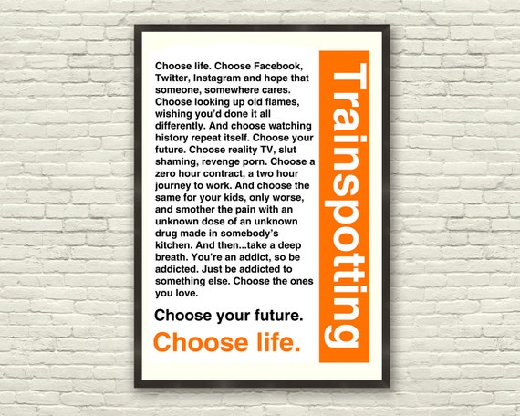 Trainspotting T60 Choose Life Quote A60 Poster Etsy Simple Life Quote Poster