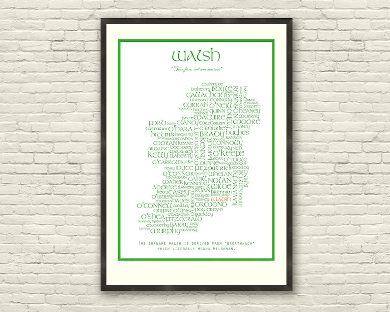 Map Of Quinn Ireland.Customised Surnames Of Ireland Map Unique A3 Or A4 Print Irish Names St Patrick S Day Love Celtic