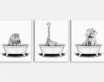 Animals in a Bathtub Illustrations Set of 3 | Nursery Wall Art | Animals in a Tub Children's Illustration | Funny Animal Bathroom Wall Art