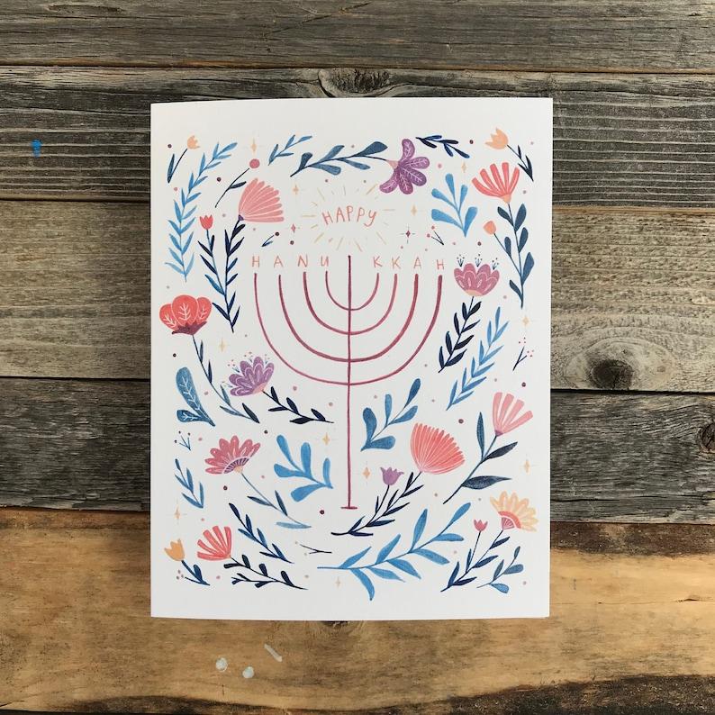 Folklore Floral Happy Hanukkah Card  Botanical Menorah image 0