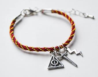 Gryffindor Harry Potter Inspired Charm Friendship Bracelet