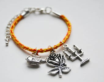 Beauty and the Beast Disney Inspired Charm and Friendship Bracelet
