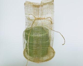 """4""""x7"""" Natural Sinamay Drawstring Pouch, 10 Pcs Natural Bag, W/ Round Base"""