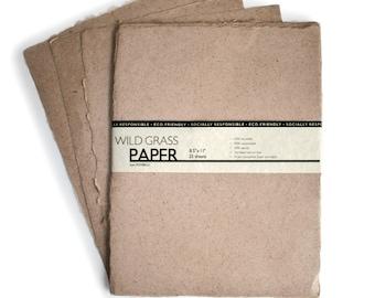 Hemp Paper Natural / Deckled Edge - 8.5 x 11 - 25 Sheets - PH0212