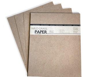 Hemp Paper Natural / Straight Edge - 8.5x11 - 25 Sheets - PH0021