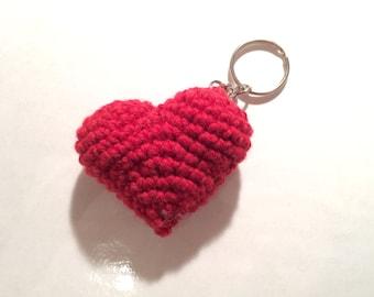 Hand Crochet Heart Keyring