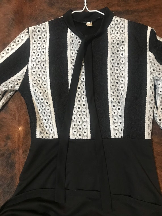 MOD 70's,  Black & white mini scooter dress.