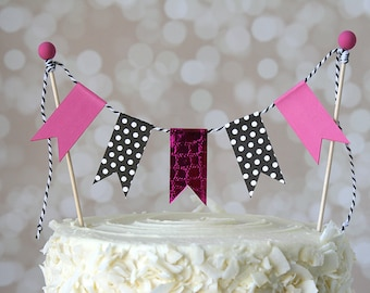 Hot Pink & Black Minnie Mouse Cake Bunting Pennant Flag Cake Topper-MANY Colors to Choose From!  Birthday, Wedding, Shower Cake Topper