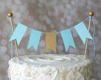 Aqua & Gold Cake Bunting Pennant Flag Cake Topper-MANY Colors to Choose From!  Birthday, Wedding, Shower Cake Topper