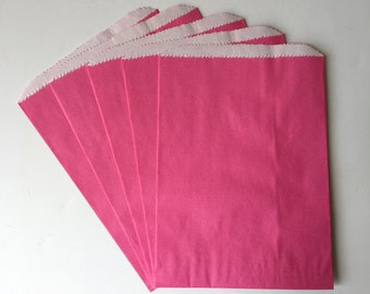 """Bright Pink Flat Paper Bags, lined with grease-resistant glassine paper    Rainbow Birthday Party Favor Treat Bags   Set of 8   5.75""""x8"""""""