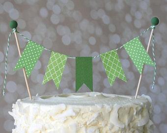 Green Polka Dot/Quatrefoil St. Patrick's Day Cake Bunting Pennant Flag Cake Topper-Birthday, Shower Cake Topper